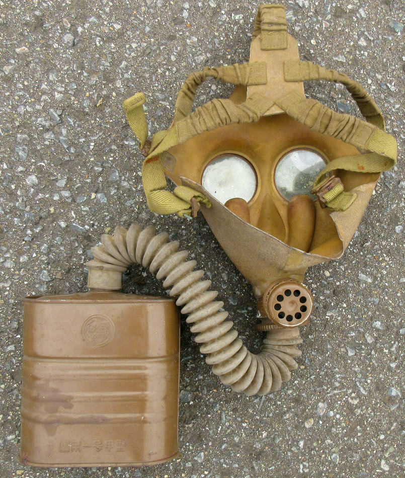 Japanese Army WW2 Military Security Team Gas Mask 1940 Antique Imperial Japan Q5