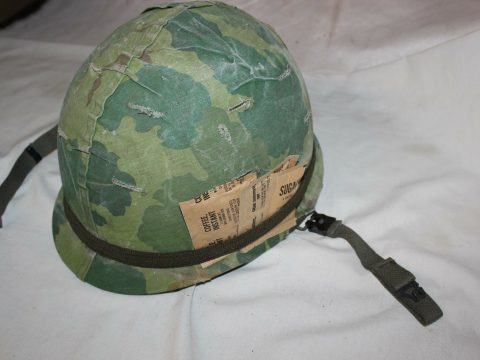US Military Vietnam Era M1 Steel Helmet with Camouflage Mitchell Cover T13 for sale