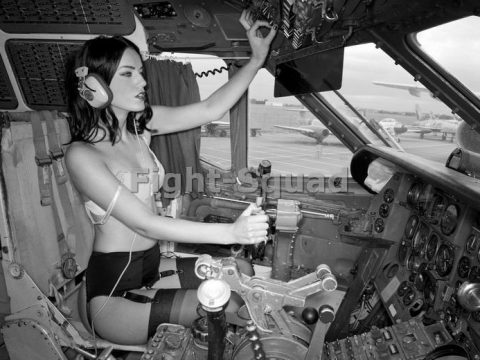 WW2 Picture Photo Pin UP sexy girl Pinup in the Cockpit for sale