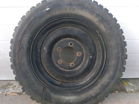 Vintage US Military Jeep Spare Tire and Rim Kleber 6.5 16 Willy's CJ Vietnam Era for sale